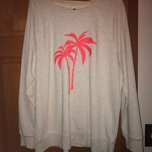 Old navy tan sweater with pink palm trees